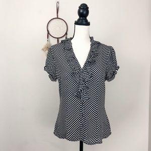 White and Black Polka Dots Blouse Short Sleeves